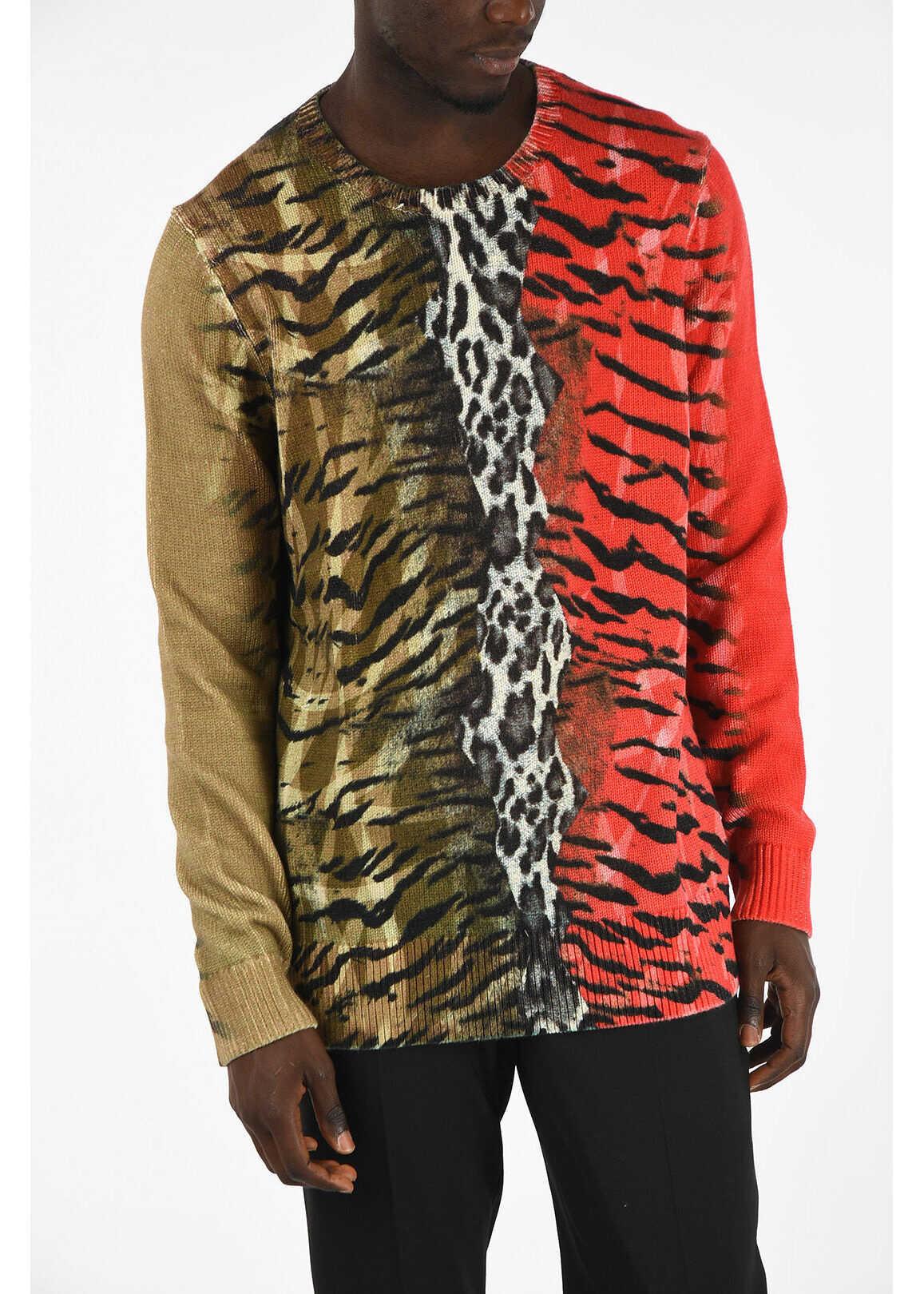 Neil Barrett Animal Printed Crewneck Sweater MULTICOLOR imagine