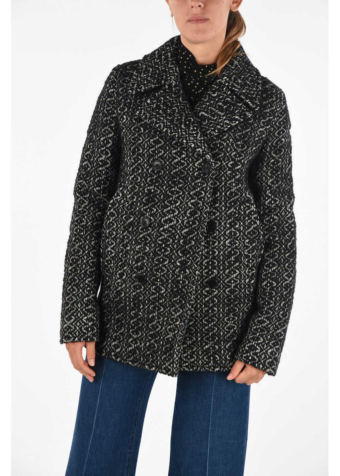 Saint Laurent Virgin Wool Double Breasted Coat BLACK & WHITE