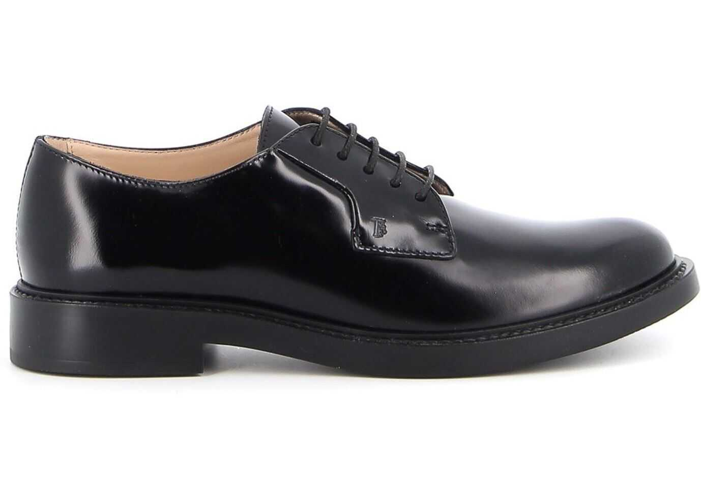 TOD'S Smooth Leather Lace-Up Shoes In Black XXW59C0DD20SHAB999 Black imagine b-mall.ro