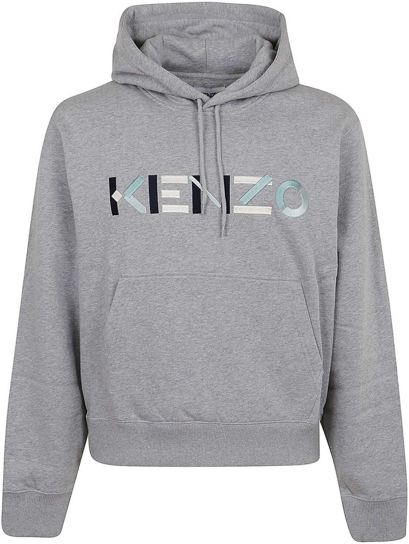 Kenzo Multicolor Logo Hoodie Grey imagine