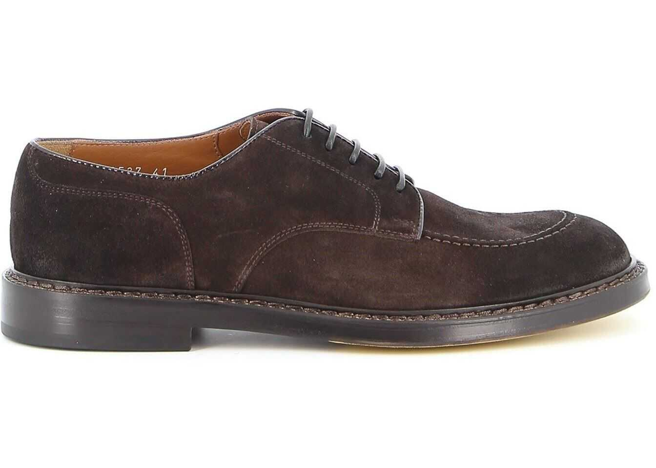 Doucal's Suede Derby Shoes In Brown DU2527SIENUFO24NTM00 Brown imagine b-mall.ro