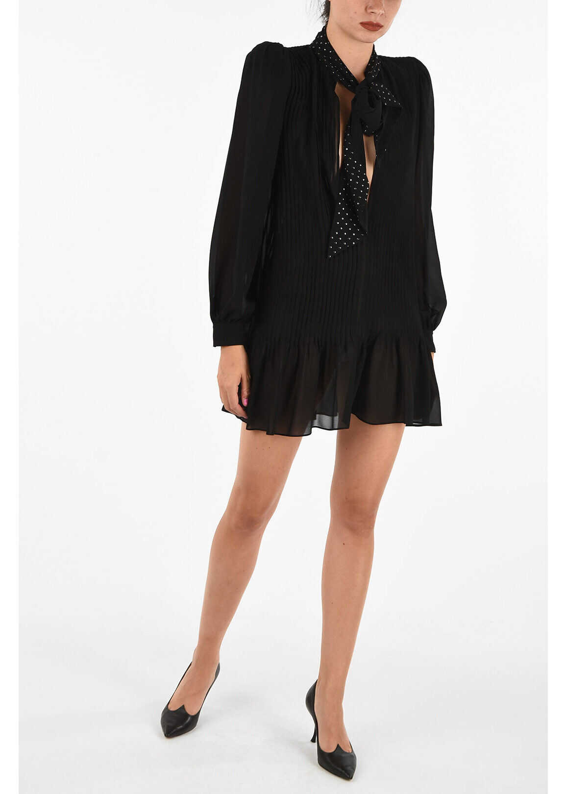 Saint Laurent Silk Shirt Dress with Bow BLACK