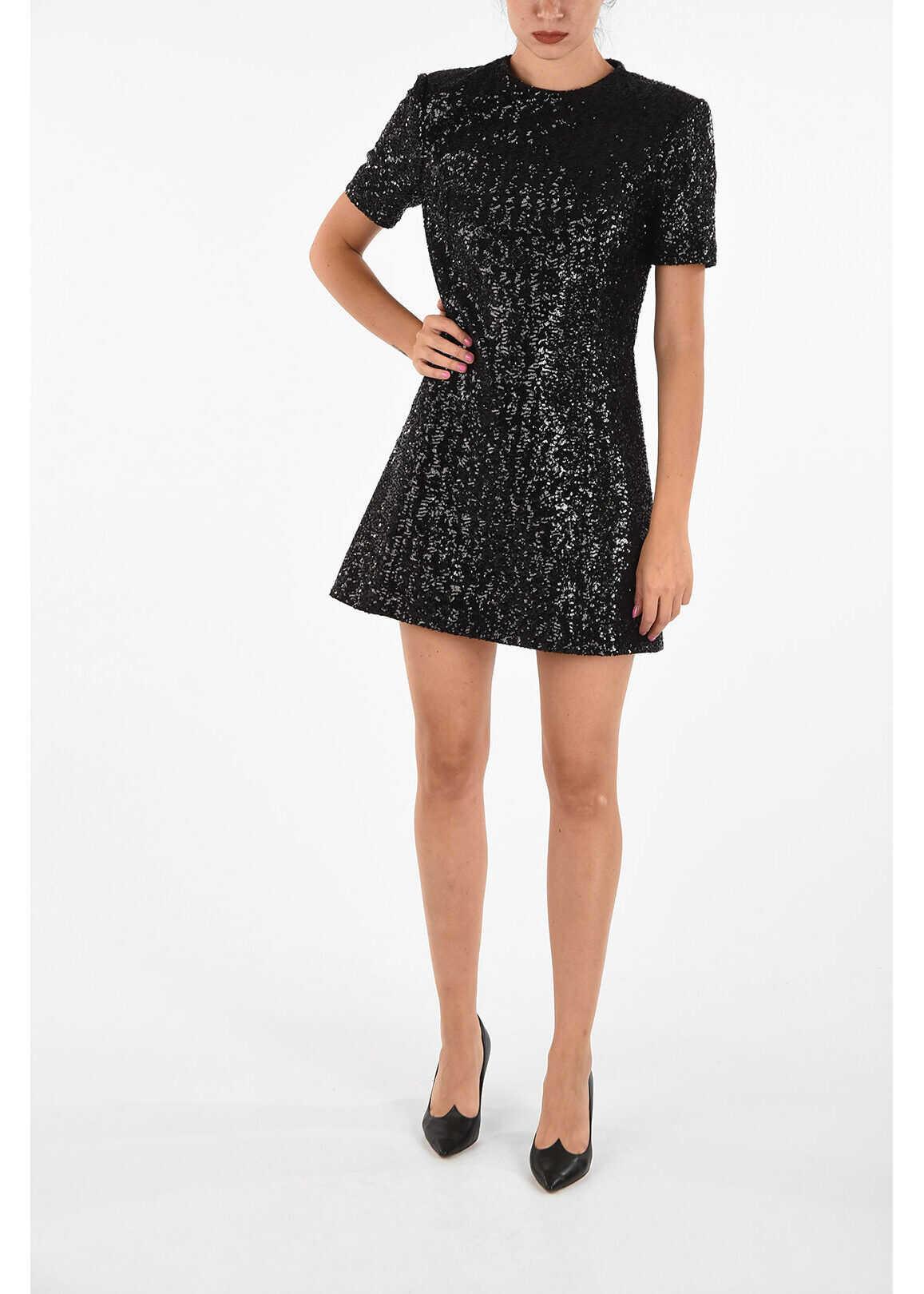 Saint Laurent Sequined Shirt Dress BLACK