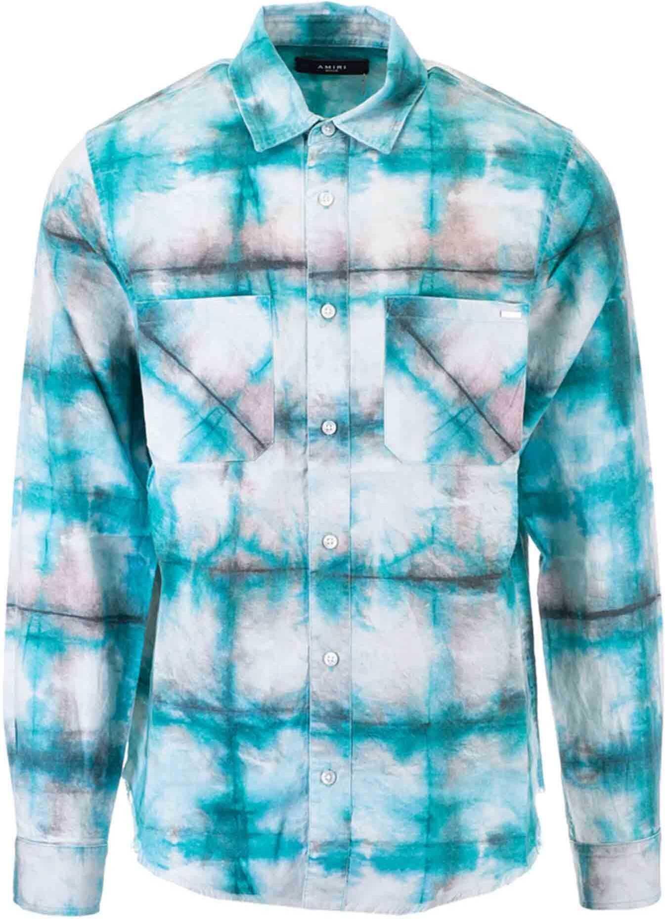 AMIRI Watercolor Plaid Shirt In Blue Blue imagine
