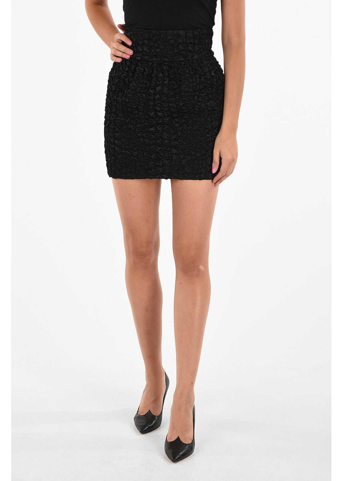 Saint Laurent Ruched Miniskirt BLACK