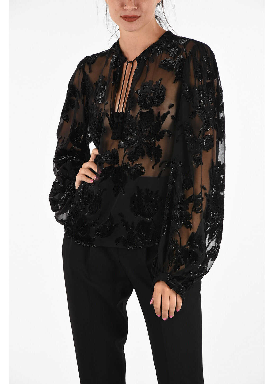 Saint Laurent Embroidered Blouse with Tassels BLACK