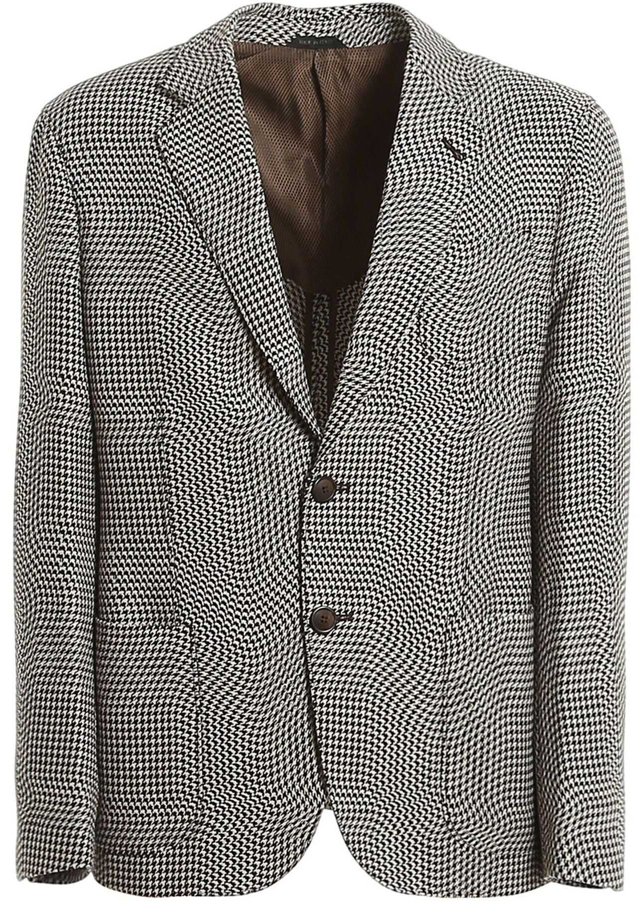 Giorgio Armani Houndstooth Patterned Blazer In Brown Brown imagine