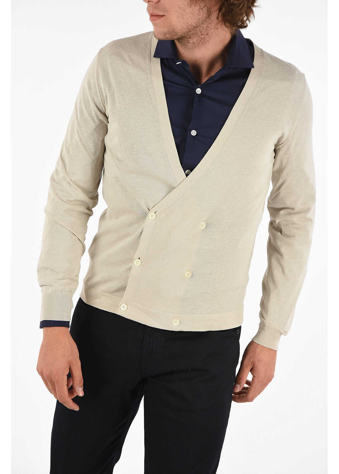 CORNELIANI ID Cotton Double Breasted Cardigan BEIGE imagine
