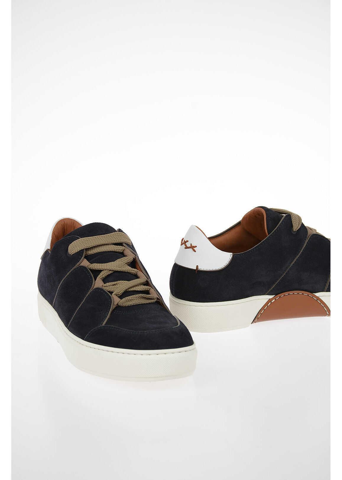 Ermenegildo Zegna COUTURE Suede TIZIANO Sneakers BLUE imagine b-mall.ro