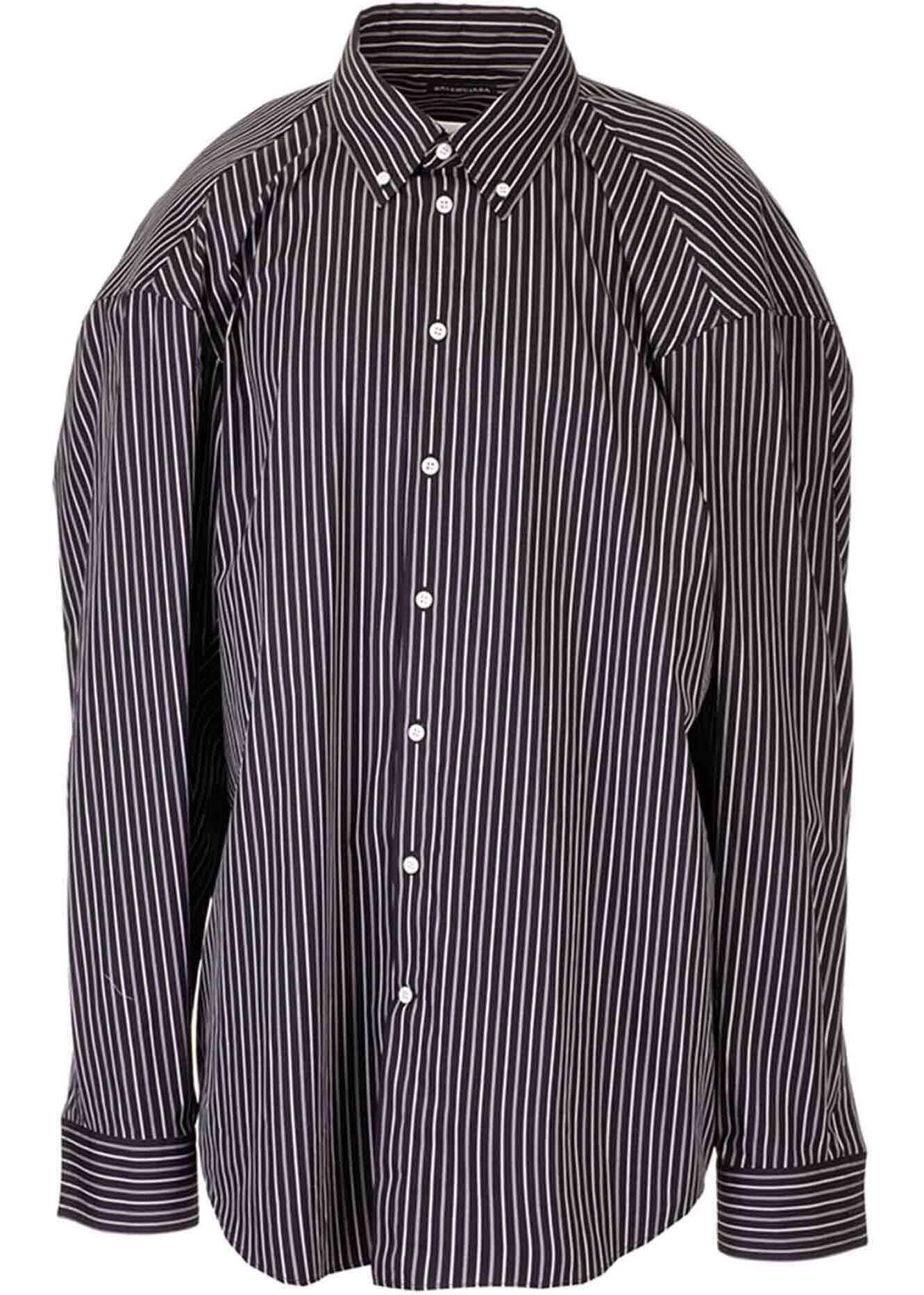 Balenciaga Steroid Striped Shirt In Black Black imagine