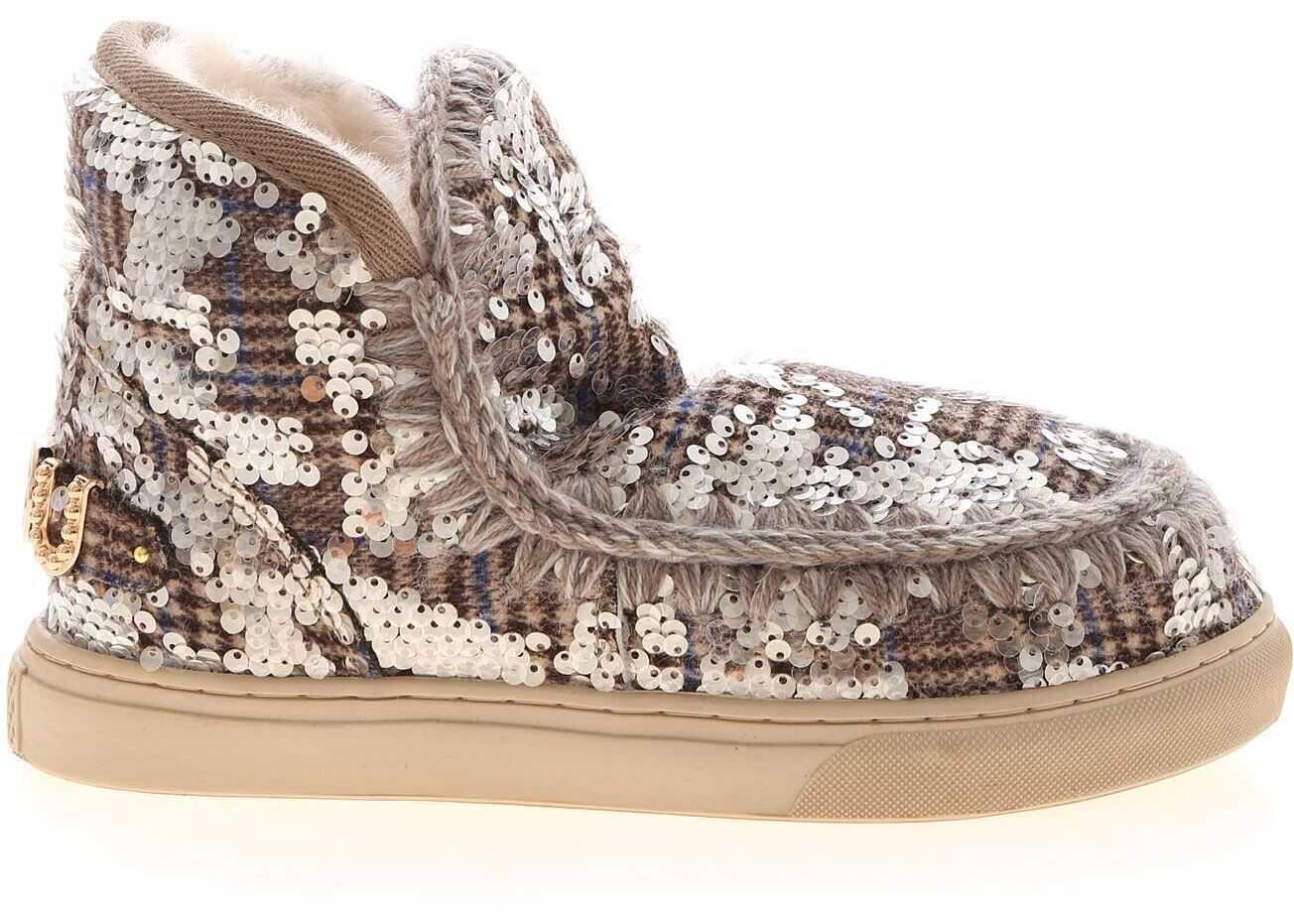 Mou Wool Plaid And Sequins Sneakers In Brown MU.FW111018K TASQBE Beige imagine b-mall.ro