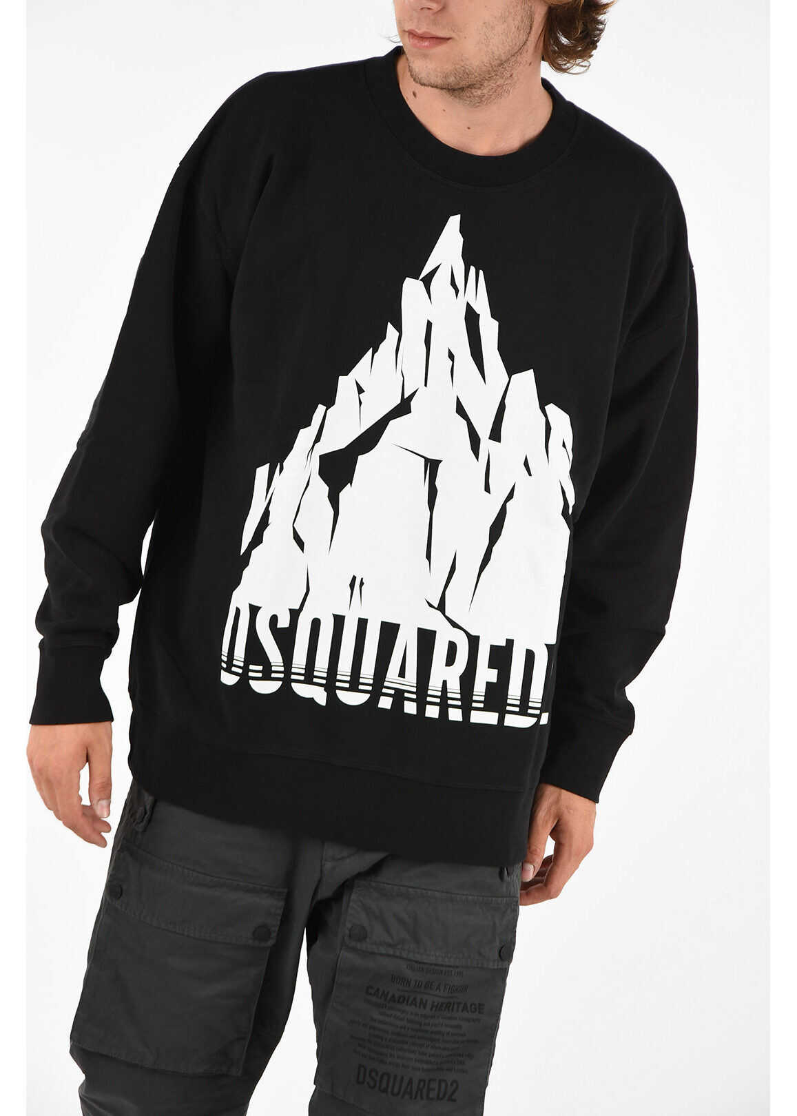 DSQUARED2 Printed Crew-Neck SLOUCH FIT Sweatshirt BLACK imagine