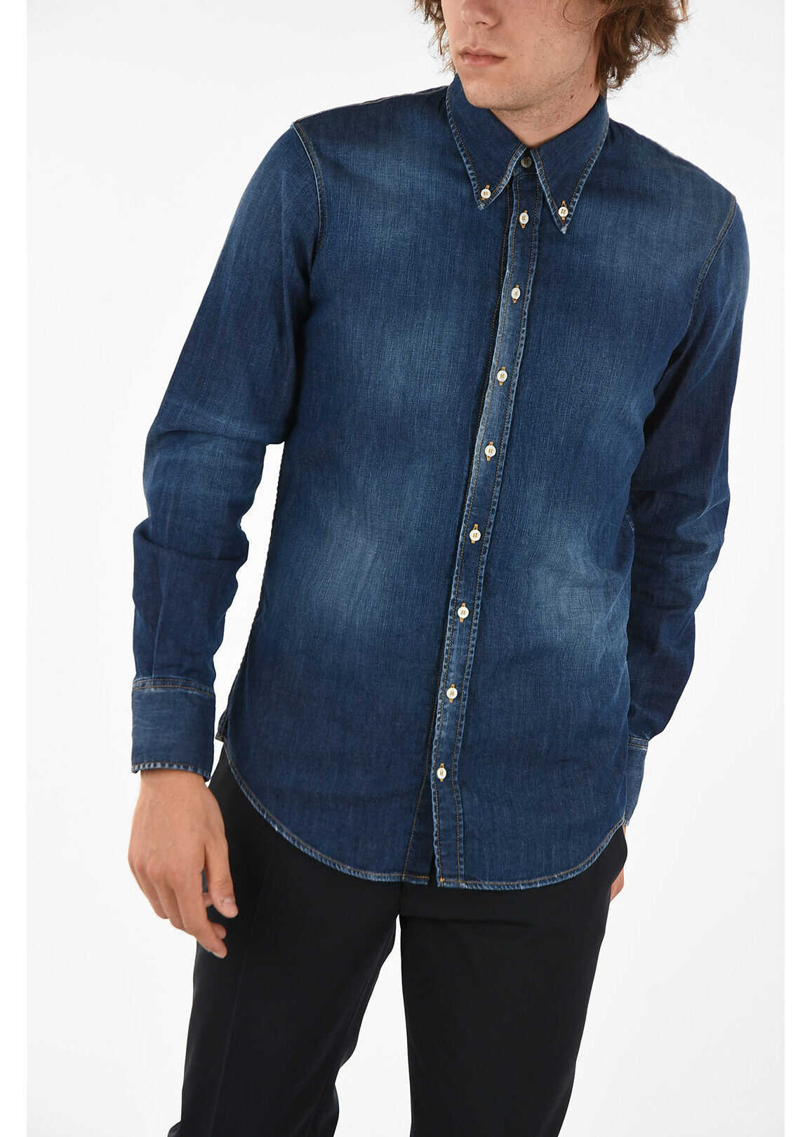 DSQUARED2 Stonewashed Button-Down Shirt BLUE imagine