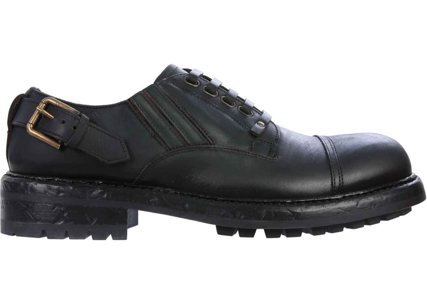 Dolce & Gabbana Derby Shoe With Laces A10656_AW37480999 BLACK imagine b-mall.ro
