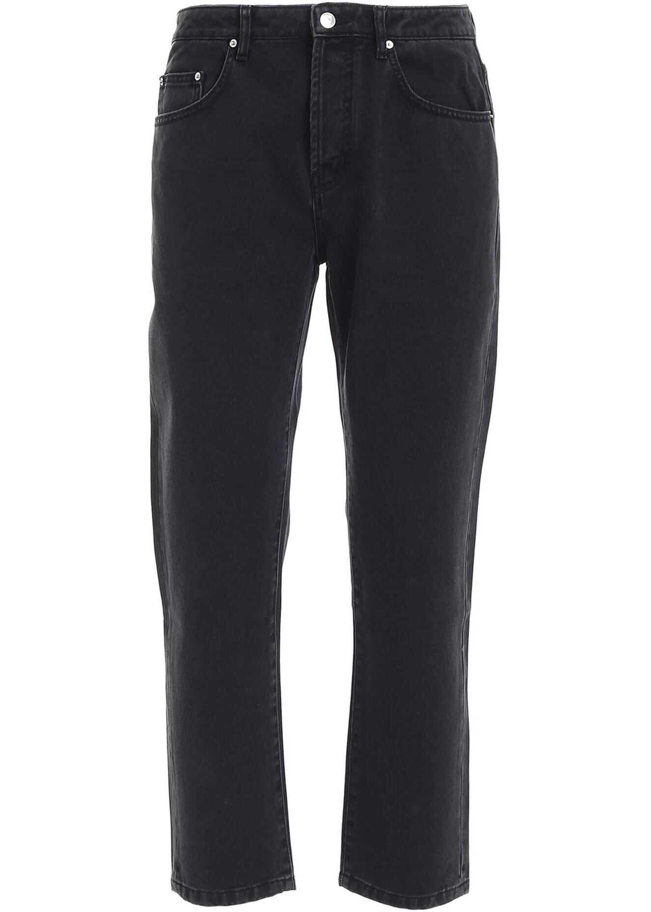 Kenzo Cropped Jeans In Black Black imagine