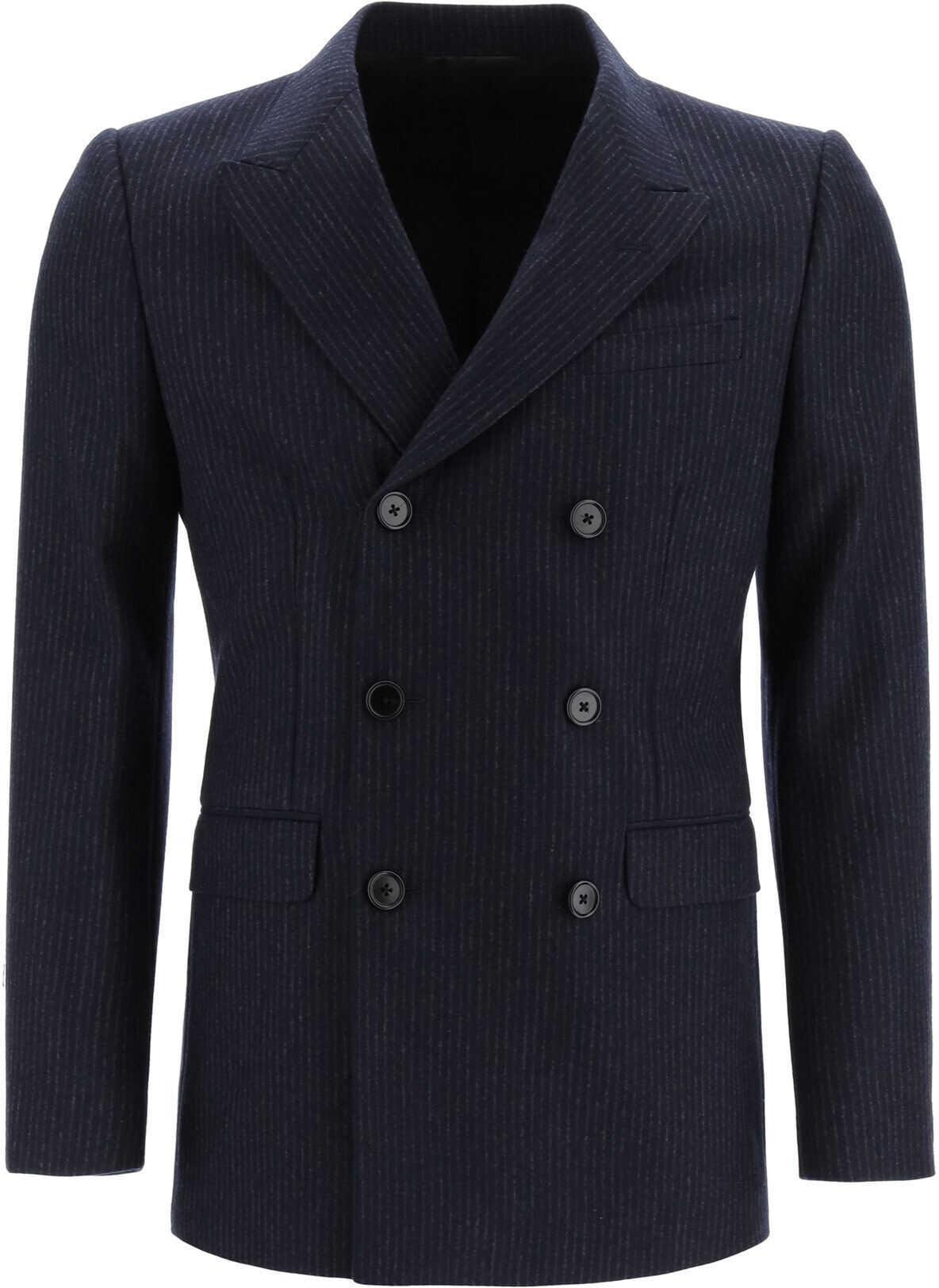 Céline Striped Wool Flannel Jacket NAVY ANTHRACITE imagine