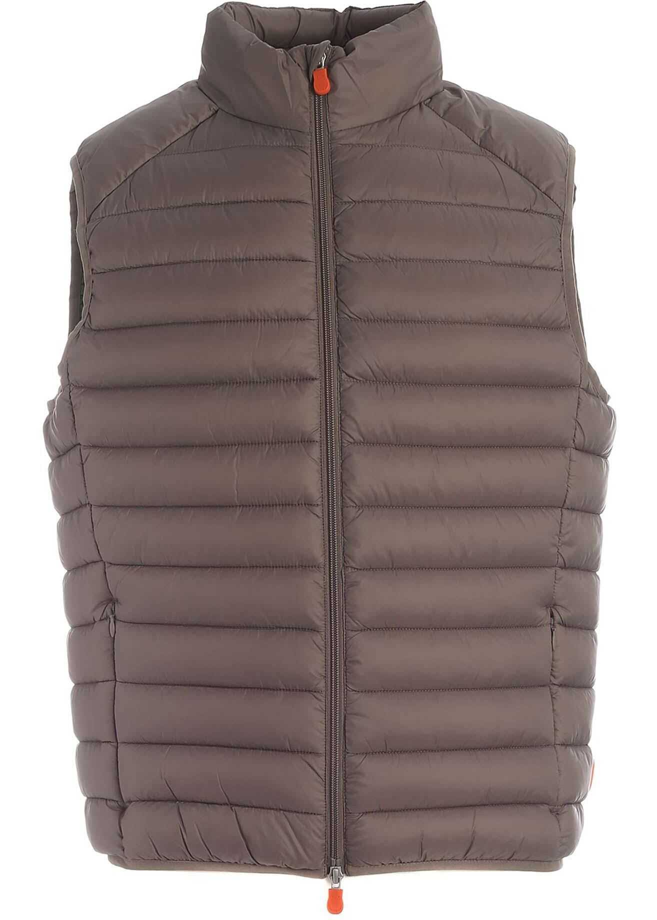 Save the Duck Plumtech® Padded Waistcoat In Dove Grey Color Beige imagine