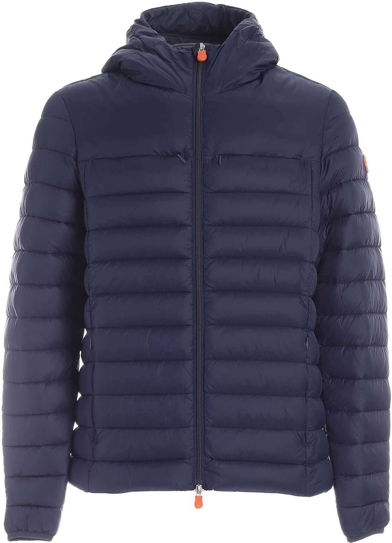 Save the Duck Hooded Padded Jacket In Blue Blue imagine