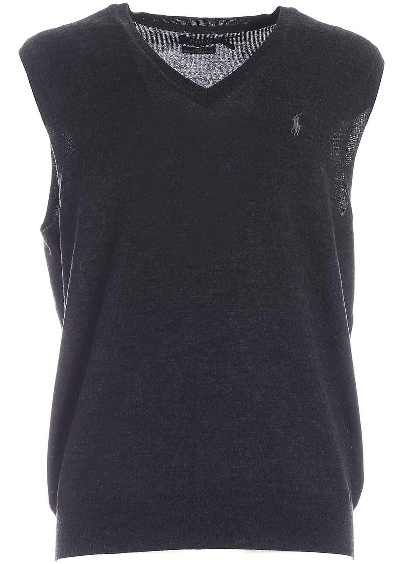 Ralph Lauren Logo Embroidery Knitted Vest In Dark Grey Grey imagine