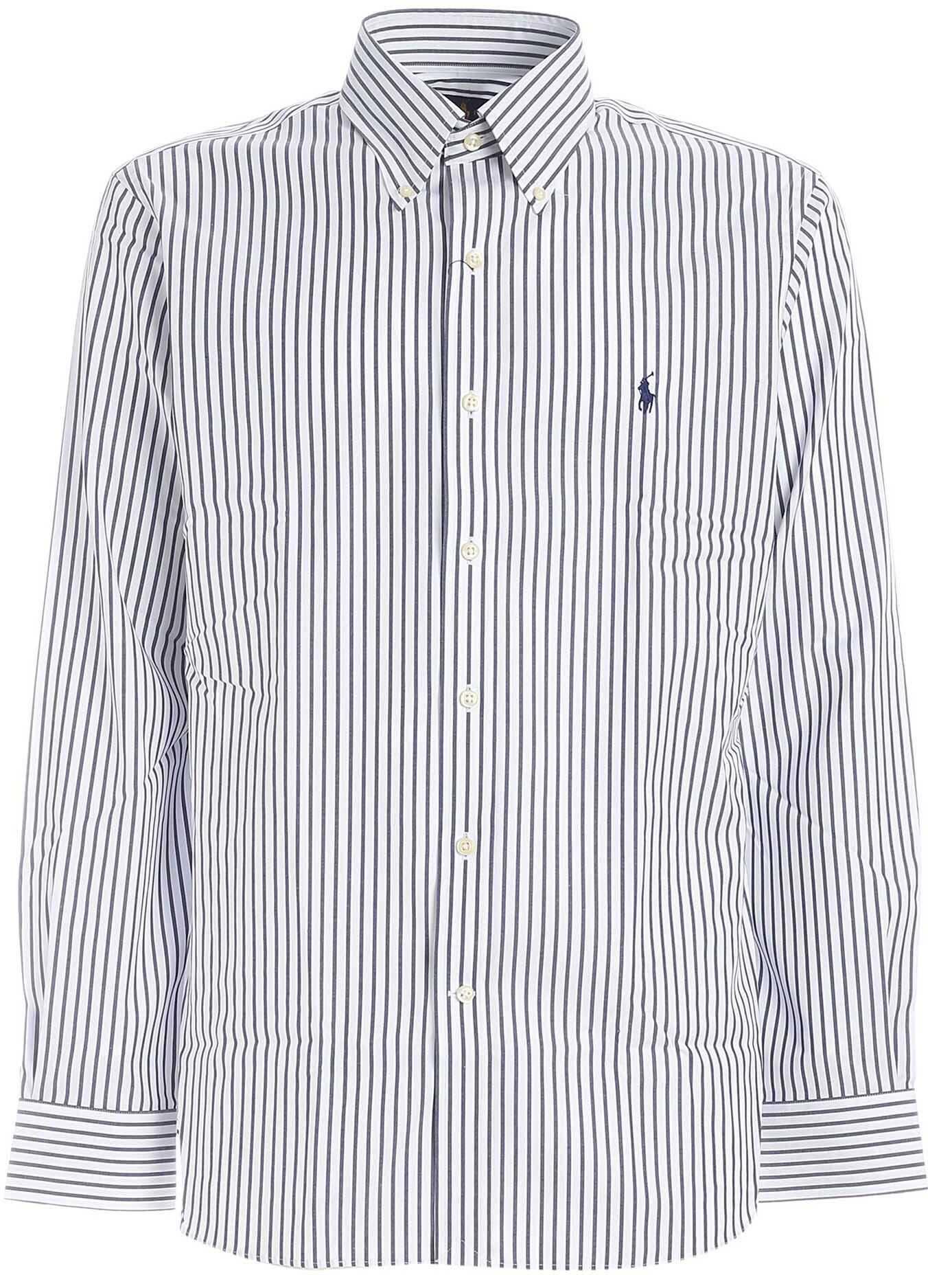 Ralph Lauren Logo Stripes Shirt In White And Blue White imagine