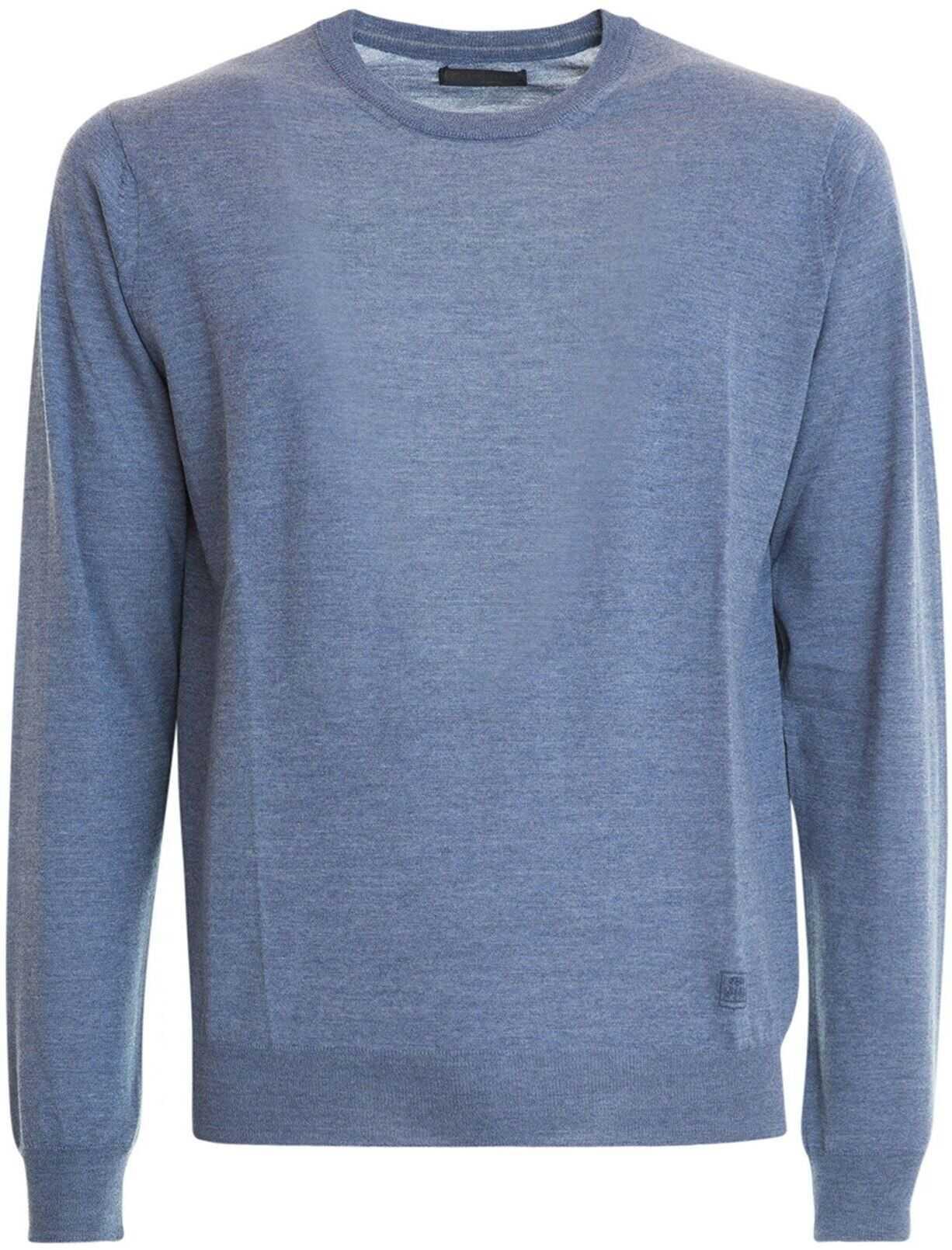 CORNELIANI Melange Wool Crew Neck Sweater In Light Blue Light Blue imagine