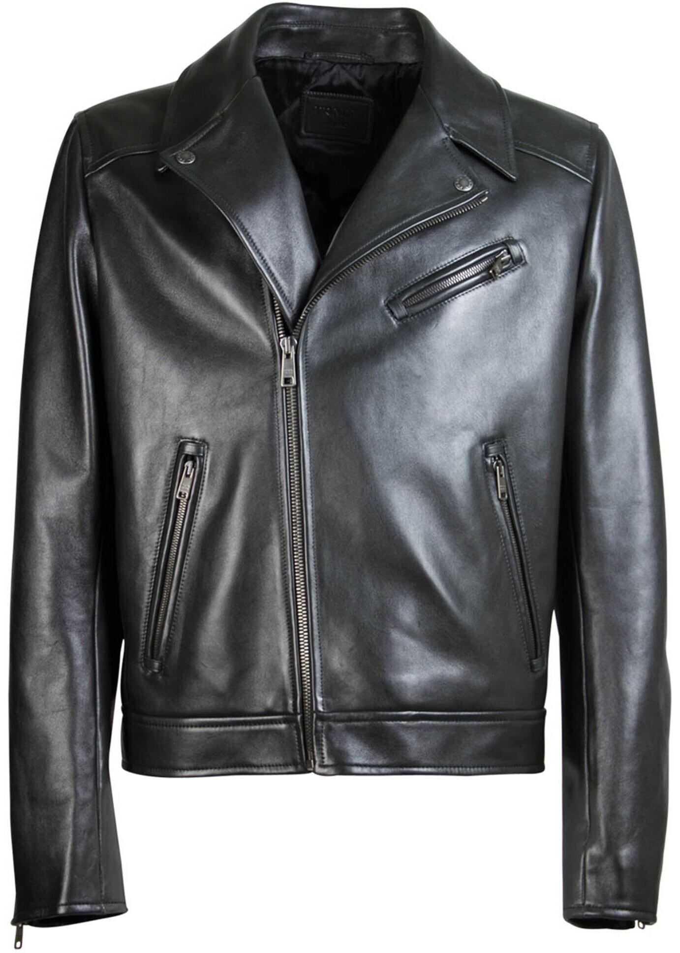 Prada Black Biker Jacket Black imagine