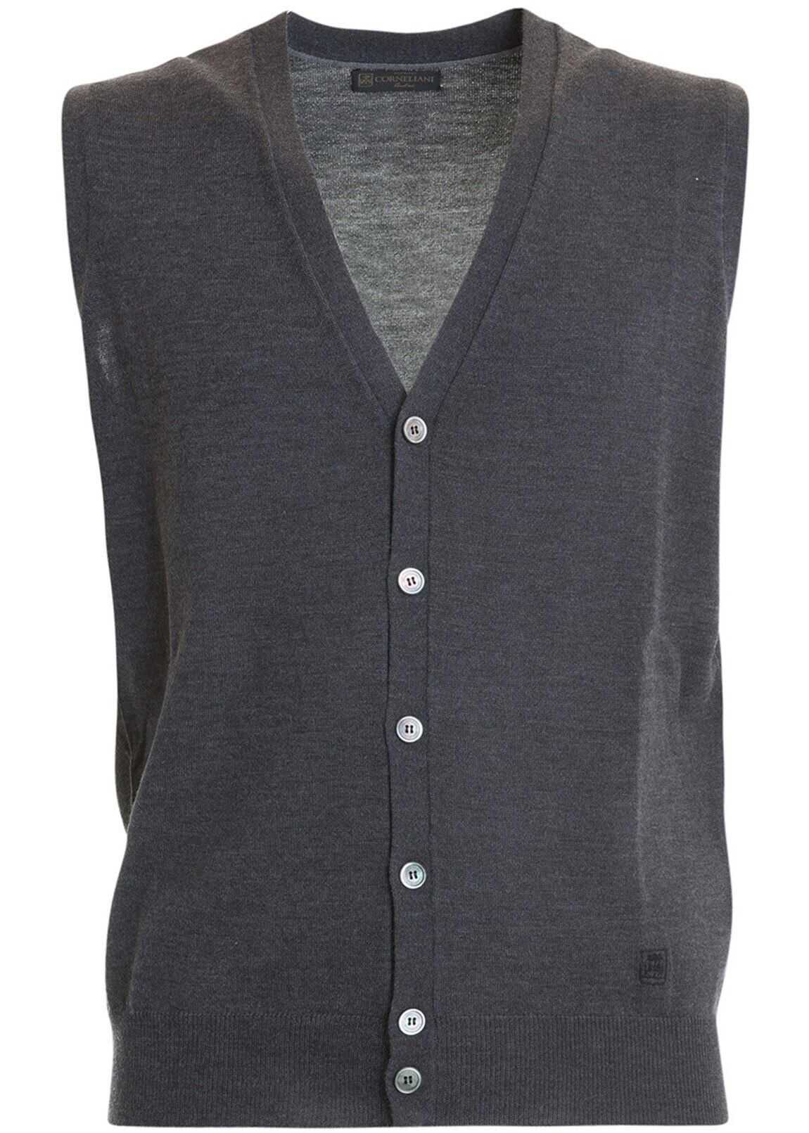CORNELIANI Grey Wool Sleeveless Cardigan Grey imagine