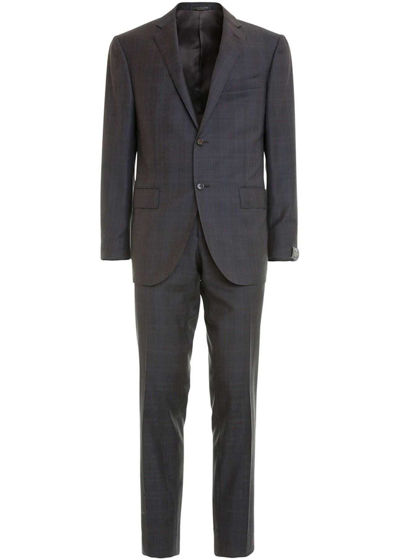 Two-Piece Check Wool Suit In Brown
