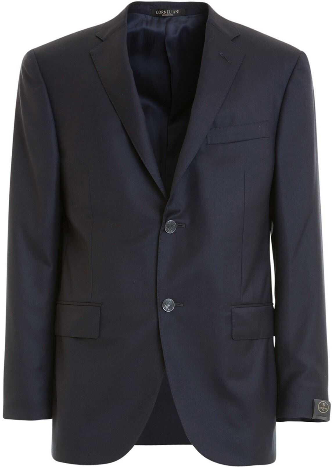 CORNELIANI Wool Classic Single-Breasted Blazer In Blue Blue imagine