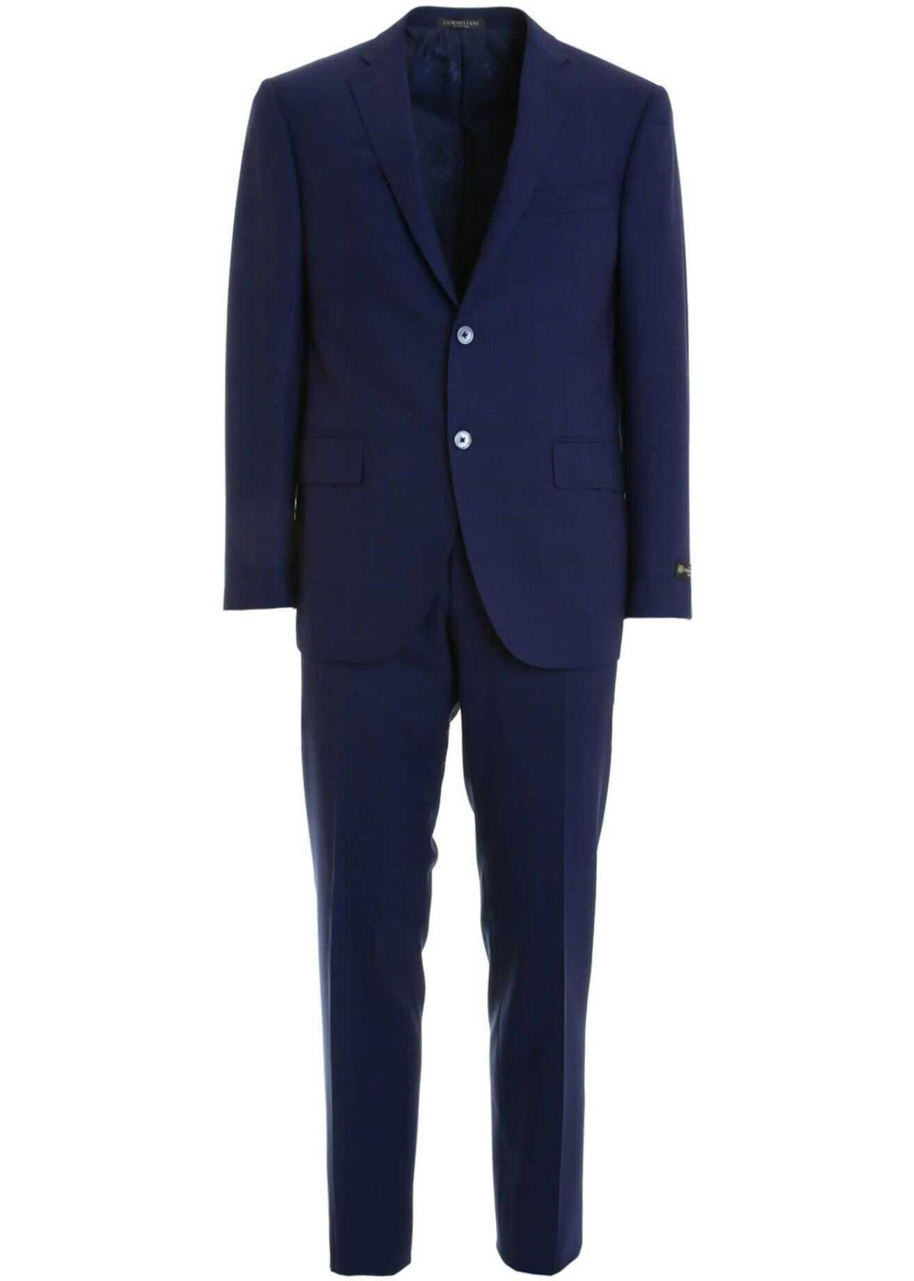 CORNELIANI Prince Of Wales Suit In Blue Blue imagine