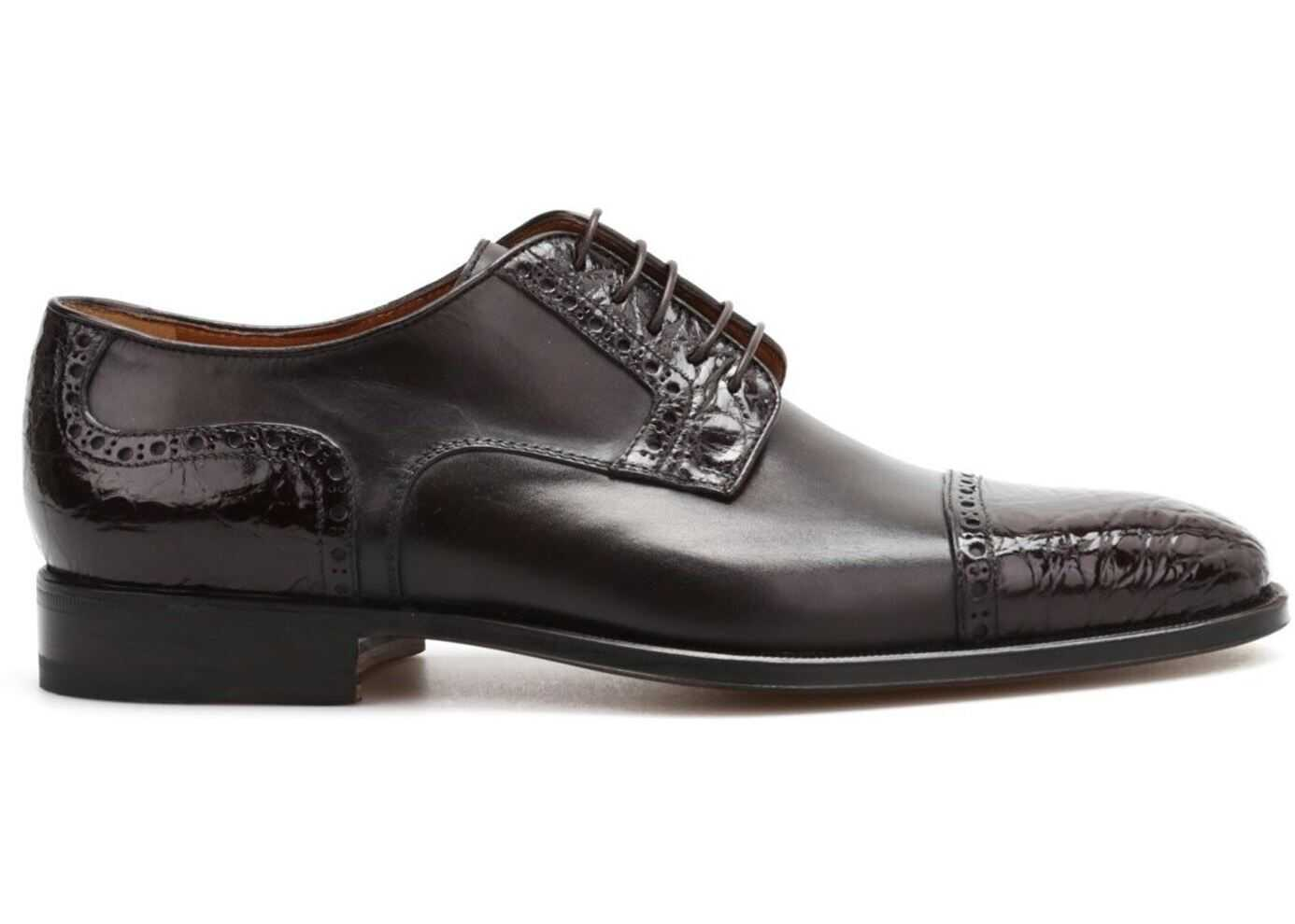 CORNELIANI Leather Derby Shoes In Brown 581090330761 TM1000 Brown imagine b-mall.ro