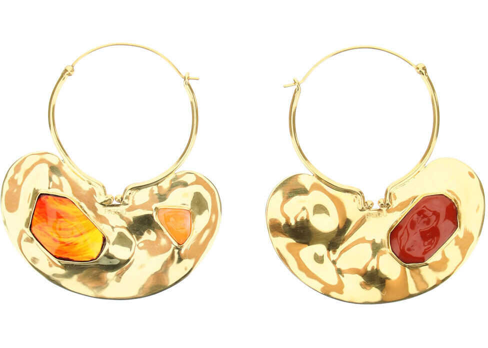 Patou Iconic Small Hoop Earrings With Stones GOLD STONES