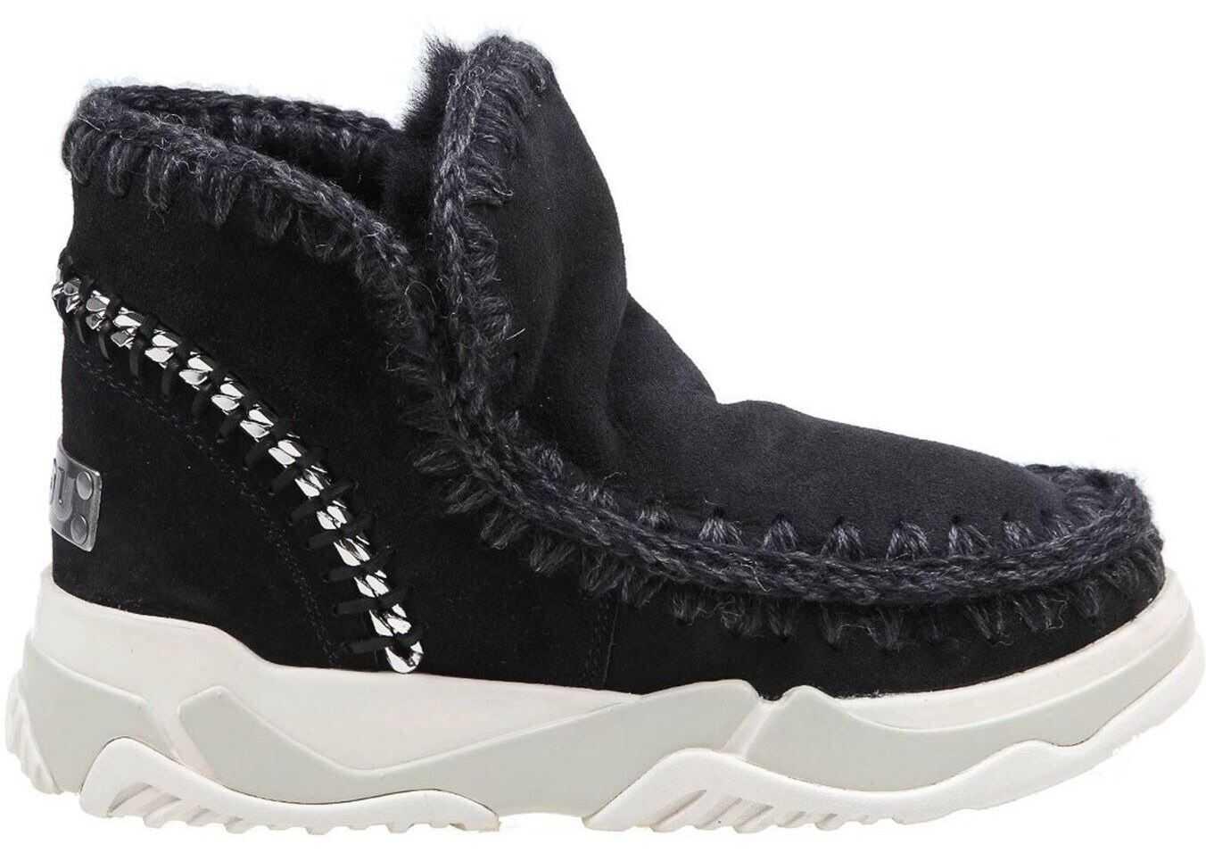 Mou Eskimo Chain Detailed Suede Sneakers In Black MU.FW201006A BKBK Black imagine b-mall.ro