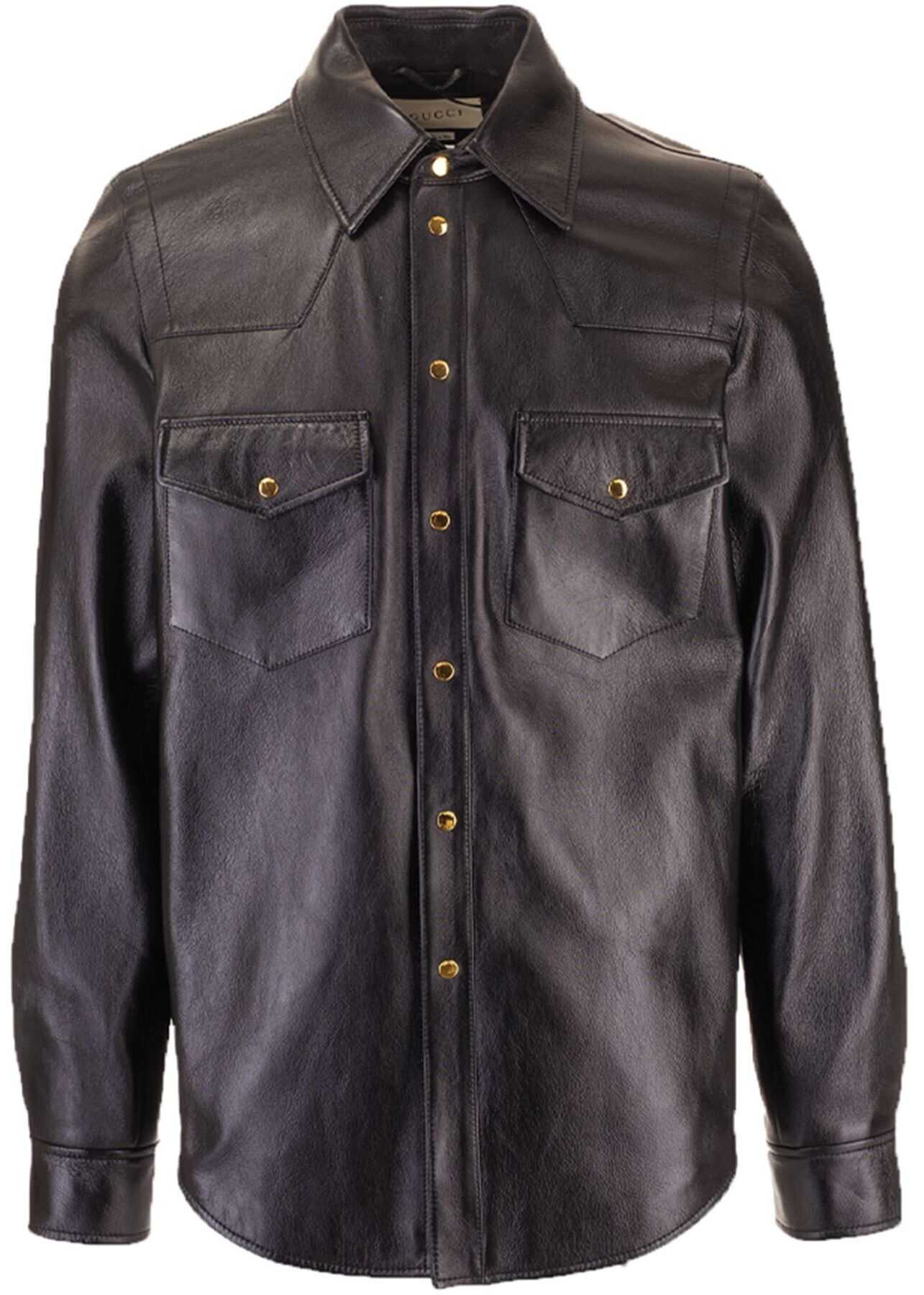 Gucci Gucci Leather Shirt In Black Black imagine