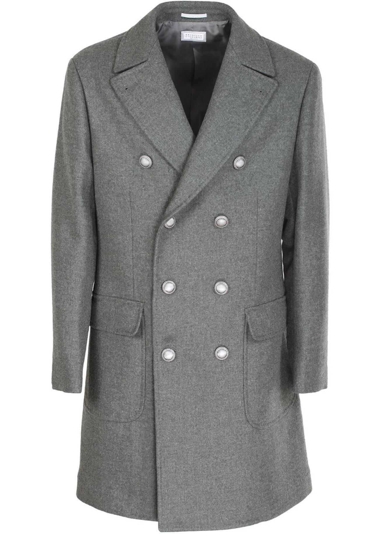 Brunello Cucinelli Double-Breasted Coat In Melange Grey Grey imagine