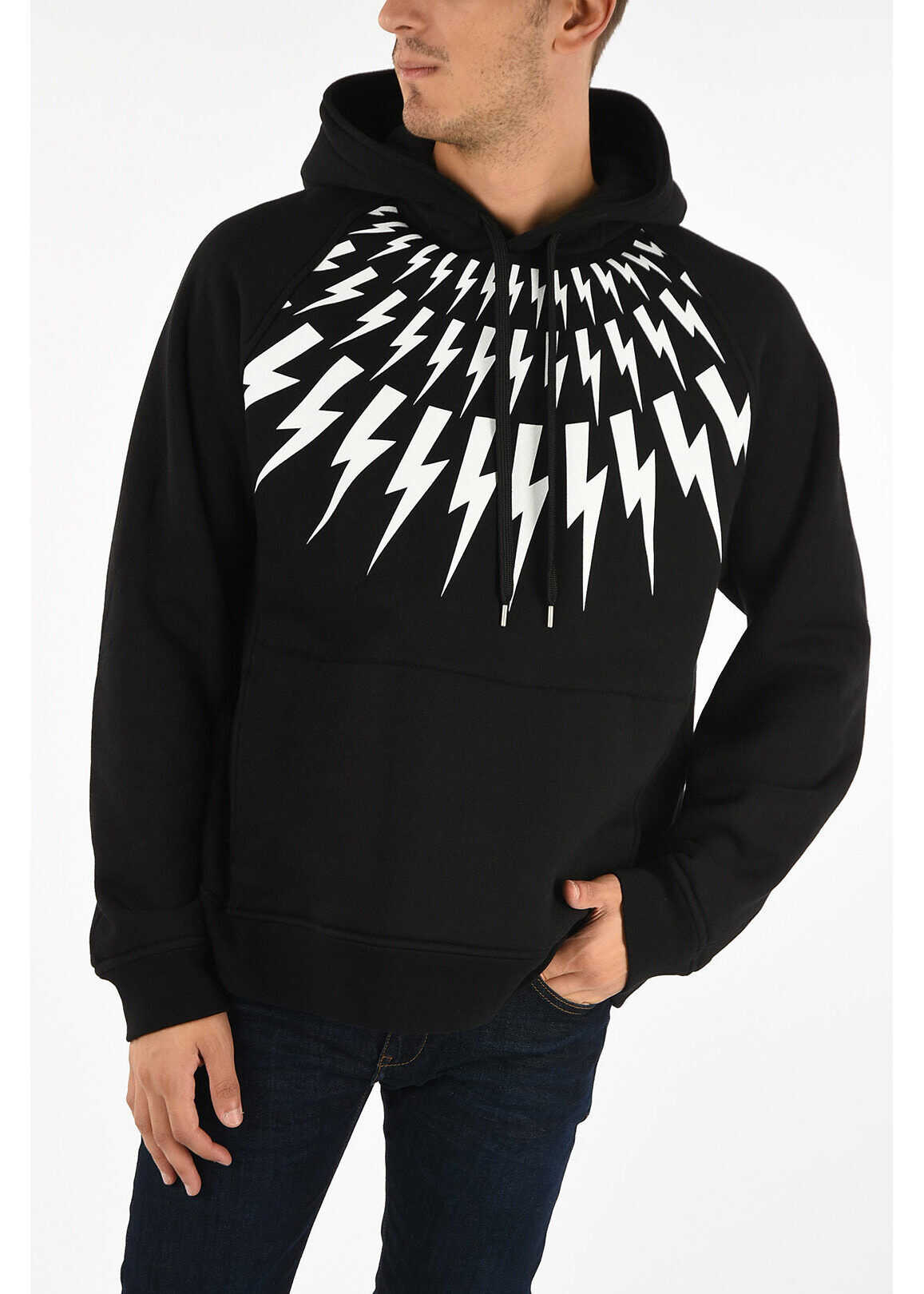 Neil Barrett Thunderbolt Print Raglan Fit Sweatshirt BLACK imagine