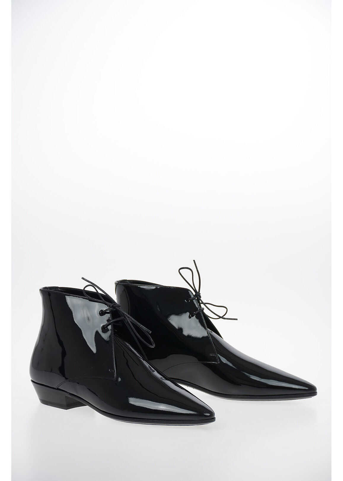Saint Laurent Lacquered Leather JONAS Lace Up Booties BLACK imagine b-mall.ro