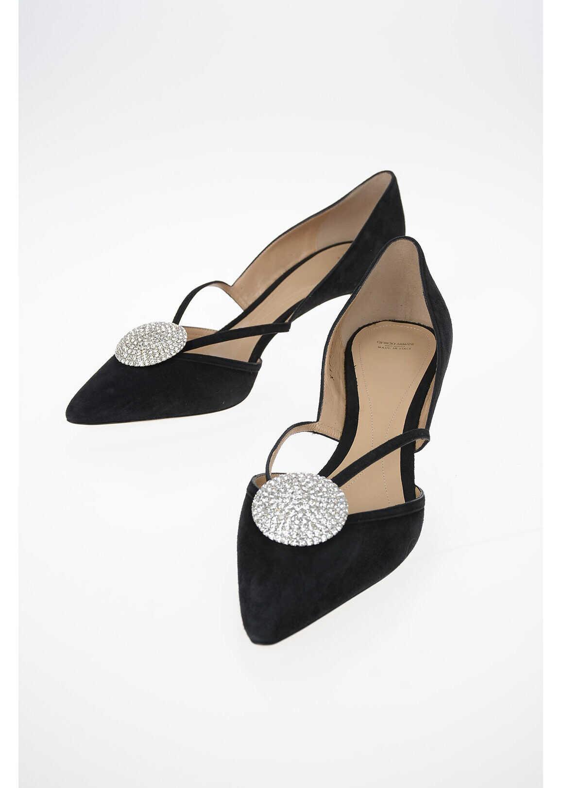 Armani GIORGIO ARMANI 6cm suede Leather D'Orsay Pumps BLACK imagine b-mall.ro