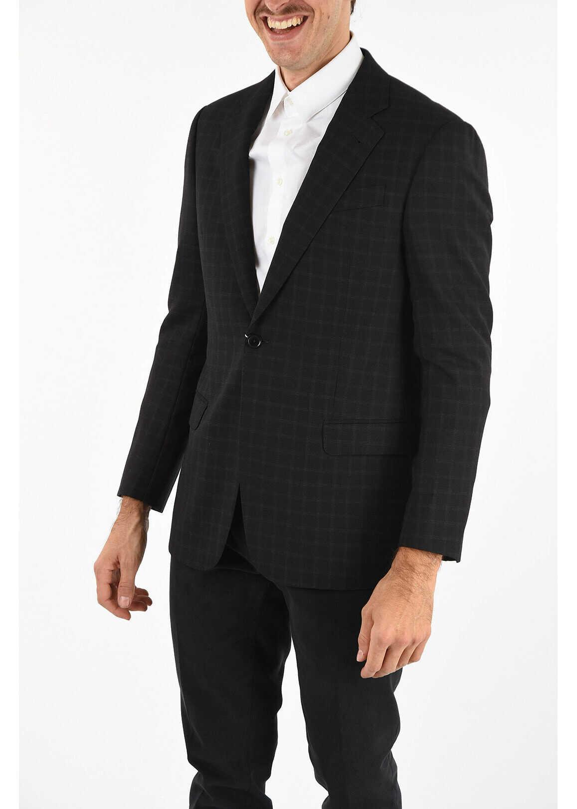 Armani COLLEZIONI Side Vents Checked 1-Button Blazer BLACK imagine