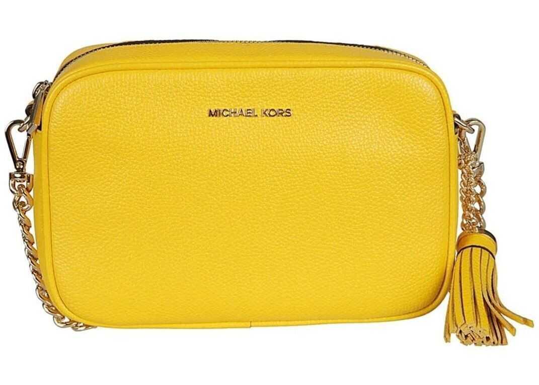 Michael Kors Ginny Sunflower Leather Medium Camera Bag 32F7GGNM8L SUNFLOWER Yellow imagine b-mall.ro