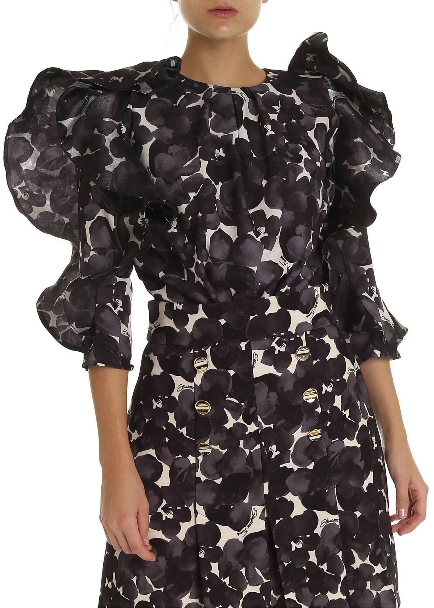 Elisabetta Franchi Floral Print Body With Ruffles In Nude Color* Black