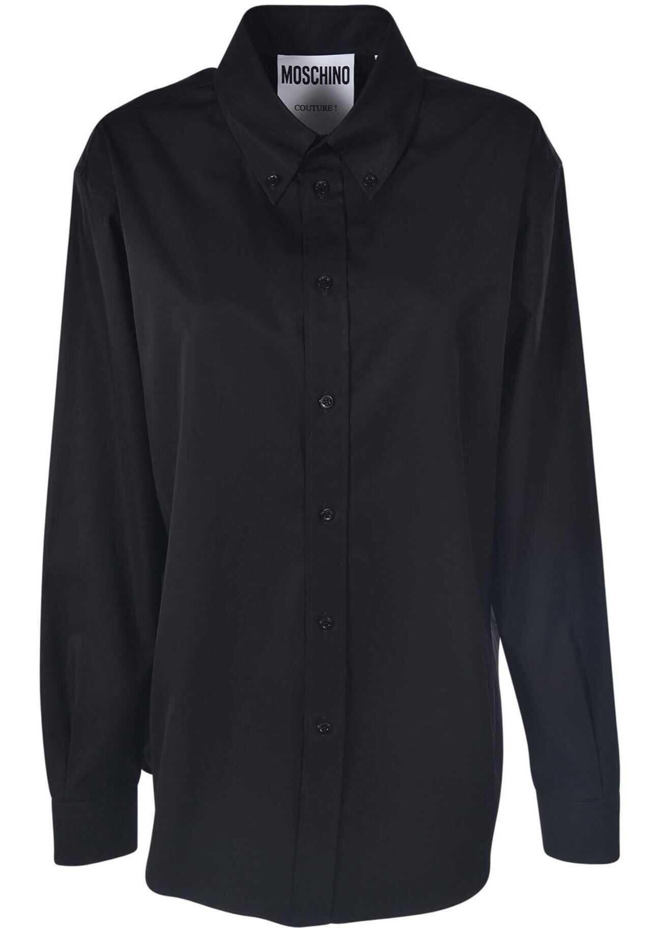 Moschino Button Down Logo Print Shirt In Black Black imagine