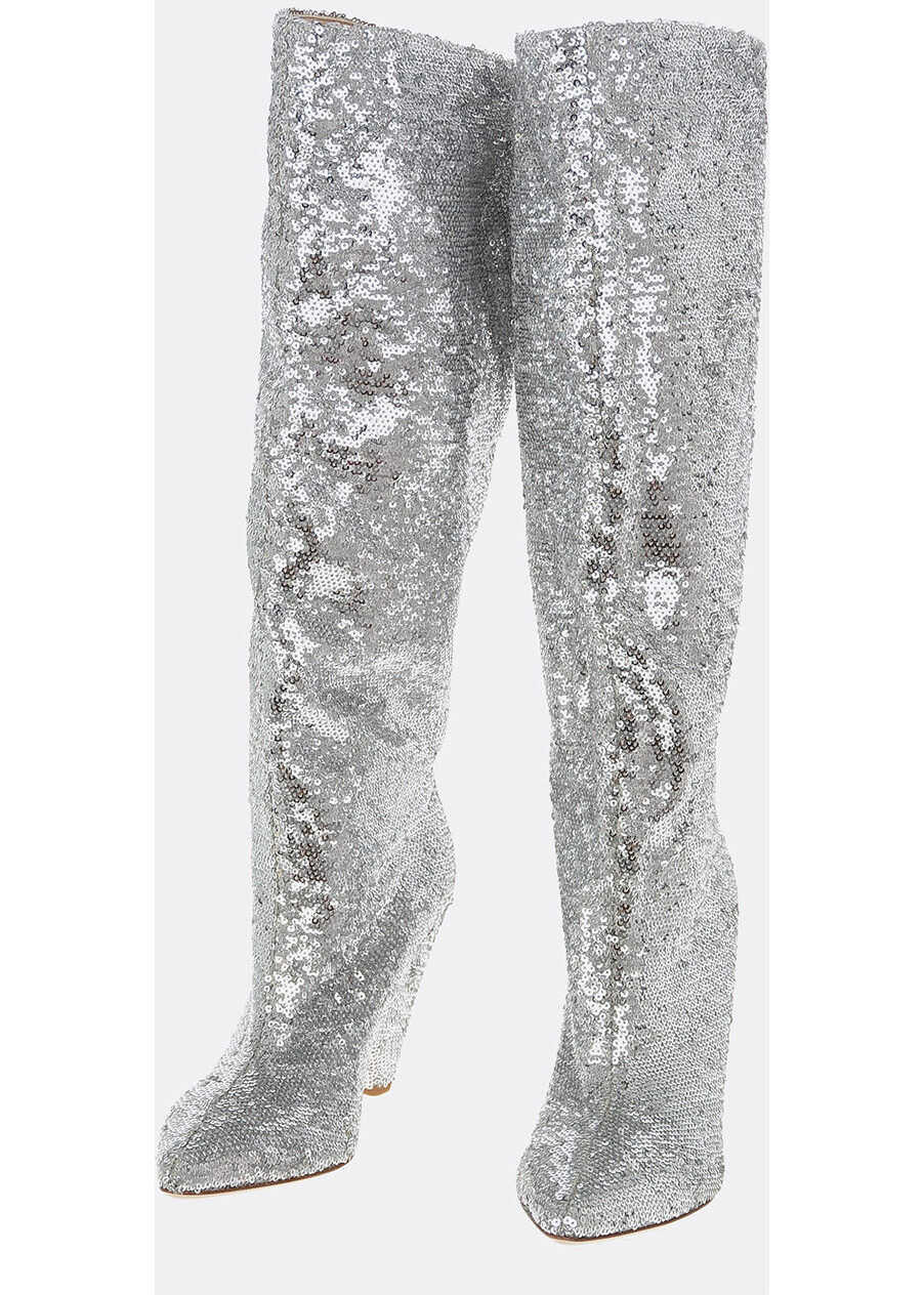 P.A.R.O.S.H. Sequined PILLE Knee High Boots 10cm SILVER imagine b-mall.ro