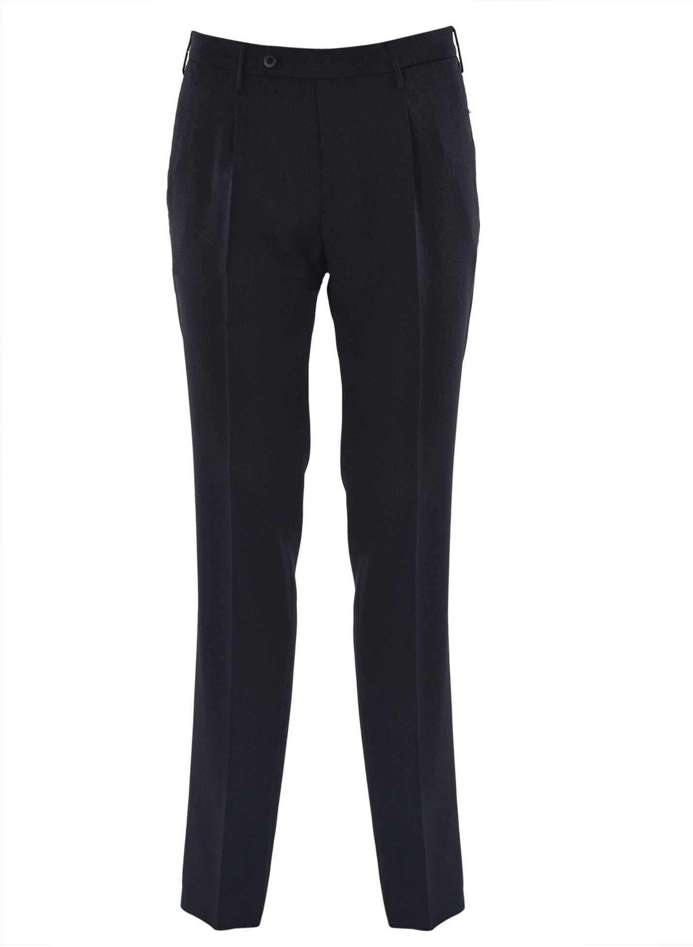 Incotex Micro-Striped Pants In Black Black imagine