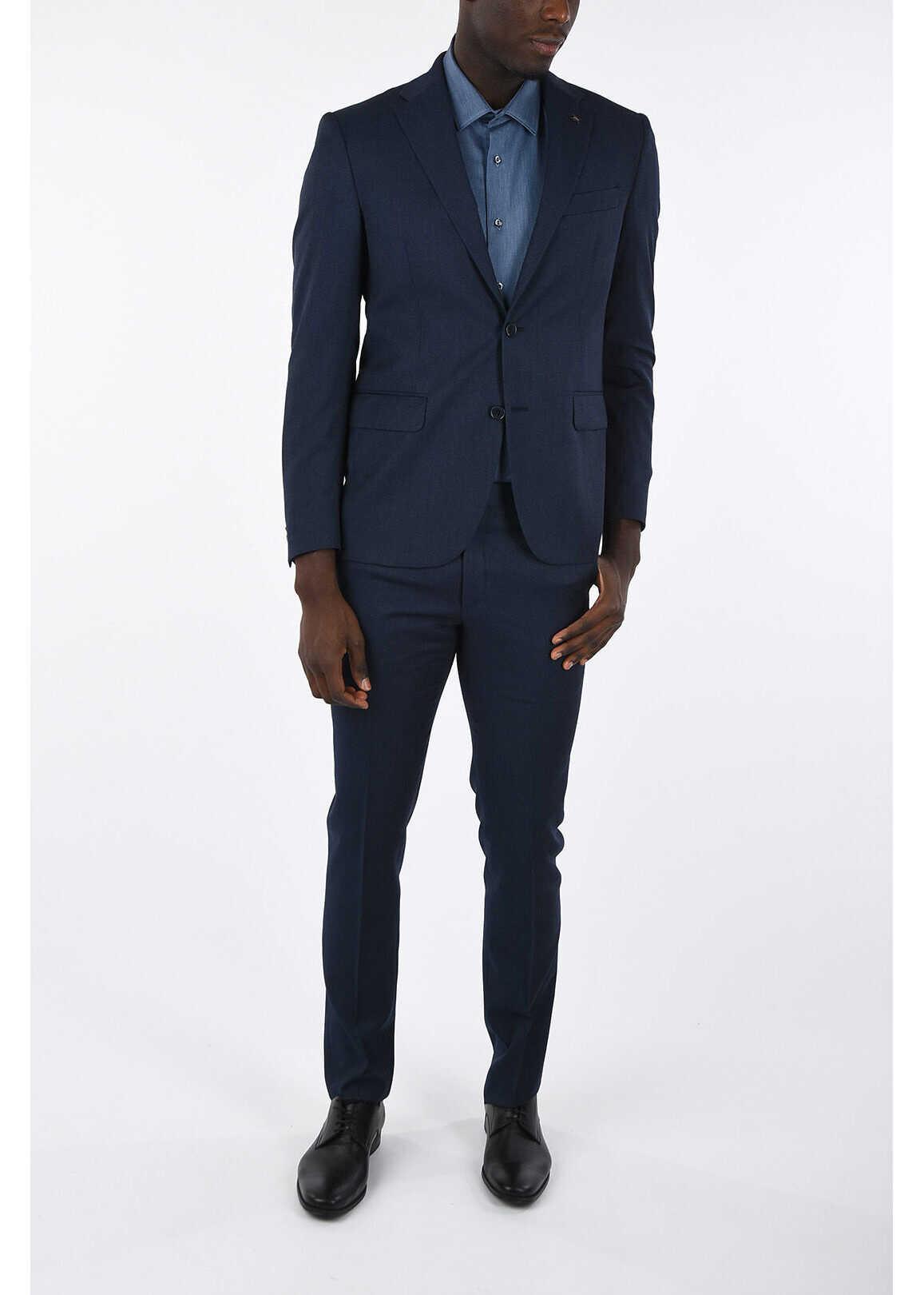 CORNELIANI CC COLLECTION pin check drop 7 R 2-button suit MIDNIGHT BLUE imagine