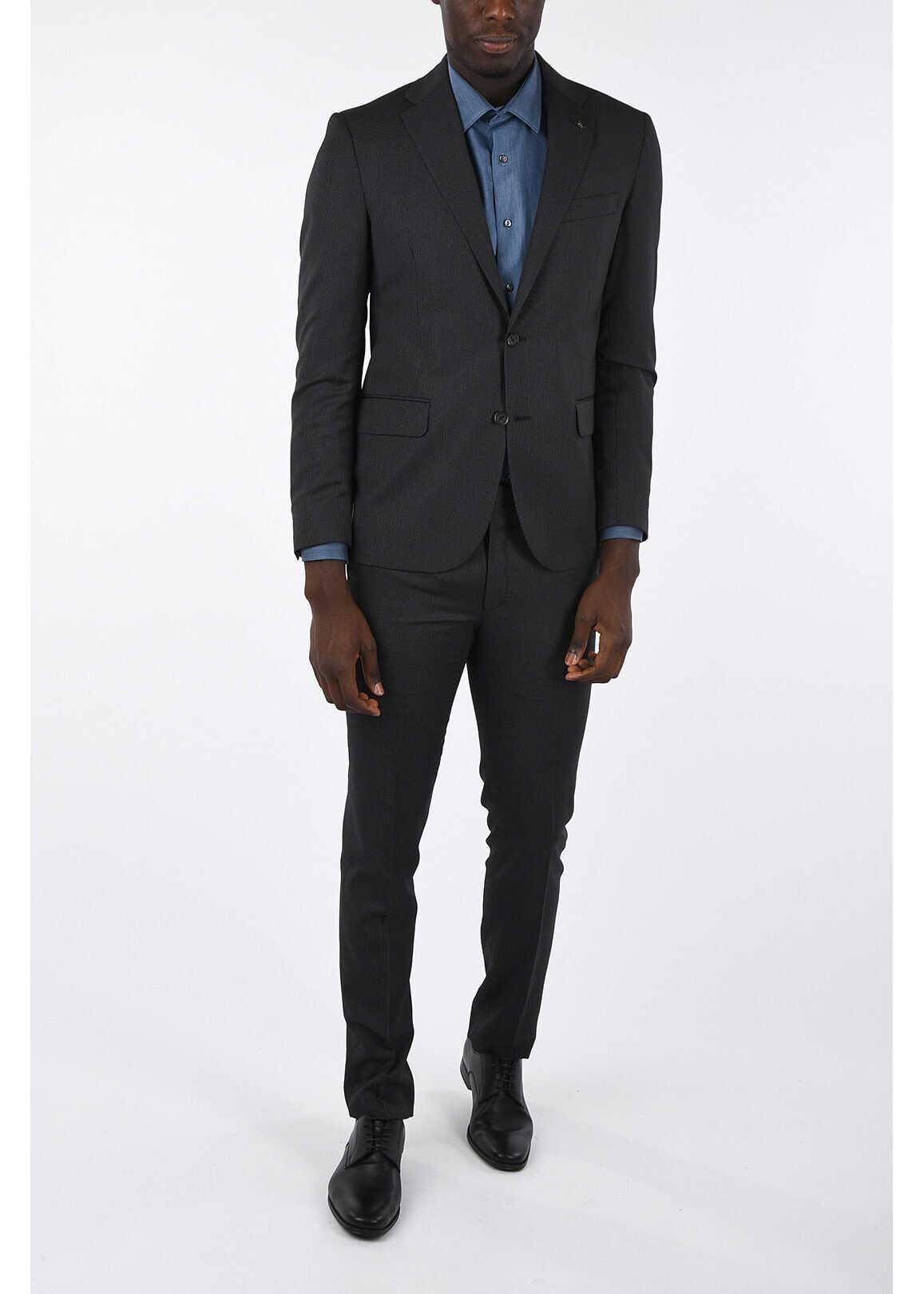 CORNELIANI CC COLLECTION micro pinstriped drop 7 r 2-button suit GRAY imagine