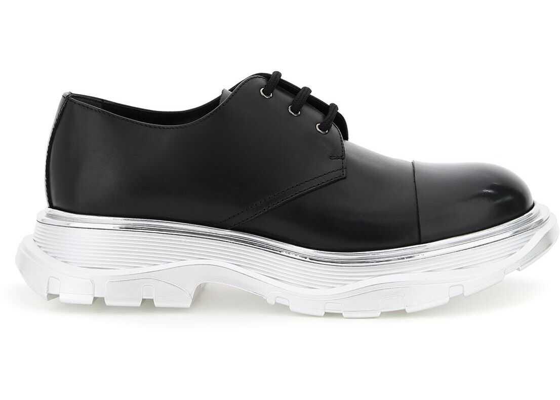 Alexander McQueen Tread Derby Shoes 625230 WHXHT BLACK BLACK SILVER imagine b-mall.ro