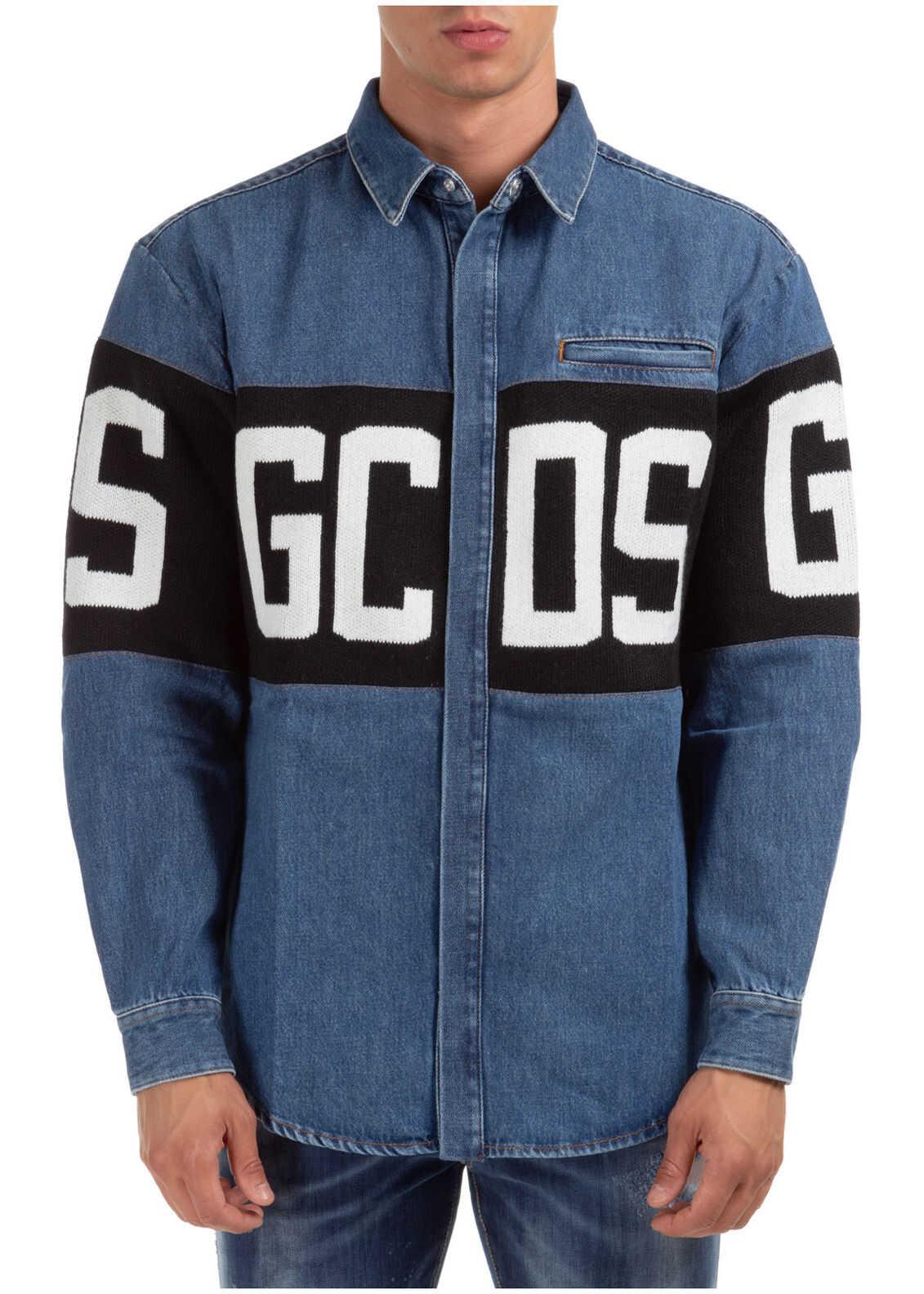 GCDS Dress Shirt Blue imagine