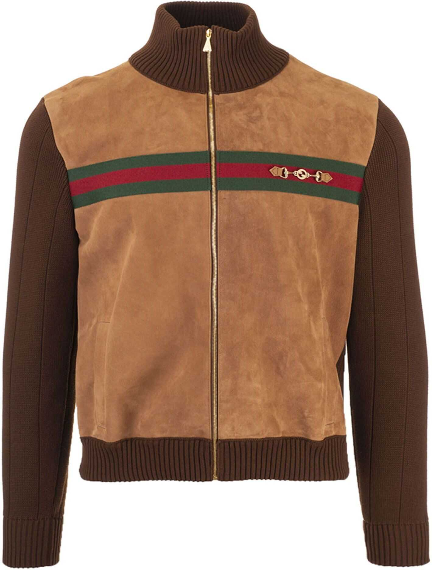 Gucci Web Bomber And Horsebit In Brown And Beige Brown imagine