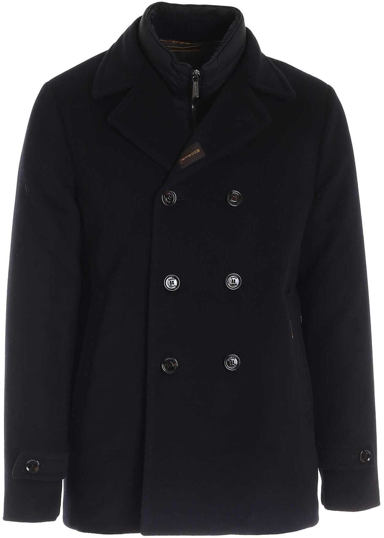 Moorer Padded Double-Breasted Coat In Blue Blue imagine